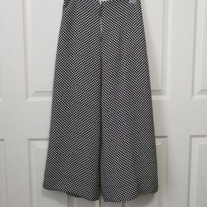 Zara B&W polka dot wide leg cropped pant trousers